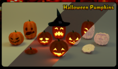 Halloween pumpkins pack 3D Model