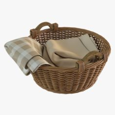 Wicker Basket 03 with Cloth 3D Model