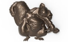 Scrat Ice Age Squirrel bas relief for CNC 3D Model