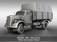 Opel Blitz – 3t Cargo truck 3D Model