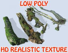 Low poly Sticks Branches Trunks – Game Ready 3D Model
