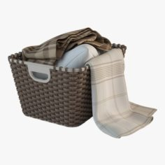 Wicker Basket 02 with Cloth 3D Model