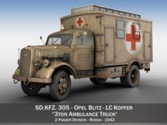 Opel Blitz – 3t Ambulance Truck – 2 PzDiv 3D Model