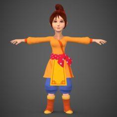 Cartoon Character Girl Babli 3D Model