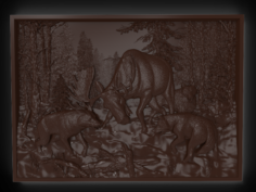 Hunting wolf pack Bas relief 3D Model