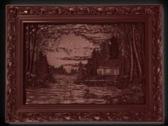 House on the lake in coniferous forest Bas relief 3D Model