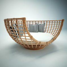 Varanasi wood sofa seat 3D Model
