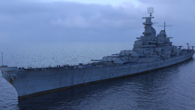 USS Iowa BB-61 with F4F 3D Model