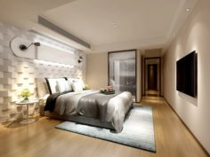 Stylish master bedroom design 95 3D Model
