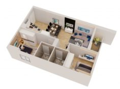 Cutaway apartment full furnitures in modern design 3D Model