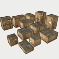 Old Wooden Cargo Crates with Dust 3D Model