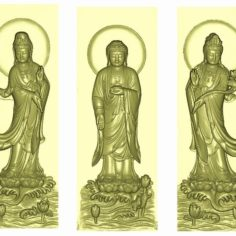 Three Buddhas model of bas-relief for cnc router carving 3D Print Model