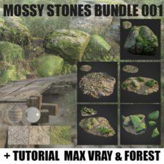 Mossy stones bundle 001 3D Model
