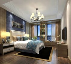 Stylish master bedroom design 91 3D Model