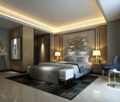 Stylish master bedroom design 14 3D Model