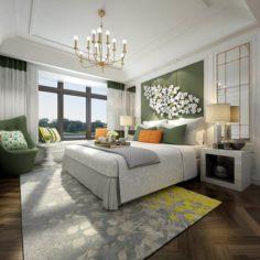 Stylish master bedroom design 04 3D Model