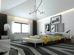 Stylish master bedroom design 08 3D Model