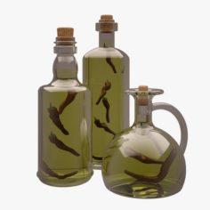 Olive Oil Bottles 3D Model