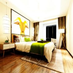 Stylish master bedroom design 33 3D Model