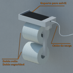 Toilet paper holder with mobile charging base for complicated moments 3D Print Model