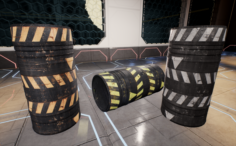 Professional game-ready barrels Low-poly and High-poly UV relaxed 3D Model