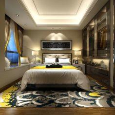 Stylish master bedroom design 13 3D Model