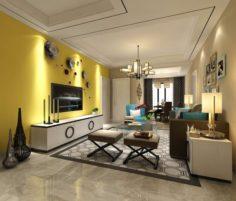 Stylish avant-garde living room design 29 3D Model
