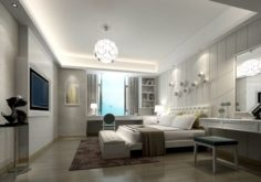 Stylish master bedroom design 82 3D Model