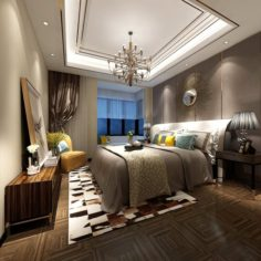 Stylish master bedroom design 12 3D Model