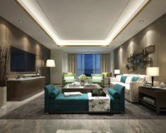 Stylish avant-garde living room design 37 3D Model