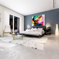 Stylish master bedroom design 02 3D Model