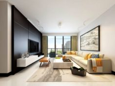 Stylish avant-garde living room design 32 3D Model