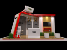 6×3 Exhibition Stand Booth 3D Model