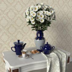 Decorative set with chrysanthemum vase 3D Model