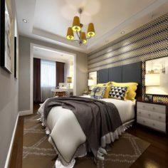 Stylish master bedroom design 07 3D Model