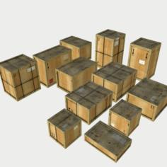 Dusty Wooden Cargo Crates PBR 3D Model