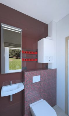 Small shower room with red tiles 3D Model