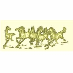 horses decorative relief model for cnc 3D Print Model