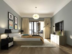 Stylish master bedroom design 85 3D Model
