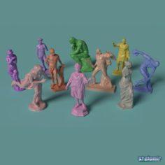 Polygonal Classic Statues 10 printable figurines 3D Model
