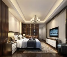 Stylish master bedroom design 92 3D Model