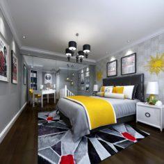 Stylish master bedroom design 09 3D Model