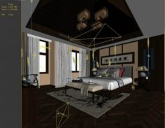 Stylish master bedroom design 74 3D Model