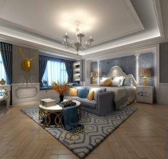 Stylish master bedroom design 54 3D Model