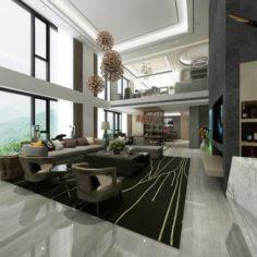 Stylish avant-garde living room design 27 3D Model