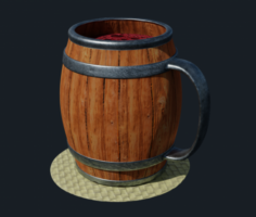 Wooden barrel drinking mug 3D Model