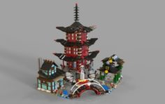 Lego chinese temple 3D Model