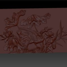 crane and lotus Chinese ancient pattern or texture 3D Print Model