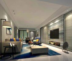 Stylish avant-garde living room design 28 3D Model