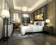 Stylish master bedroom design 87 3D Model